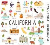california set of landmarks... | Shutterstock .eps vector #1483877627
