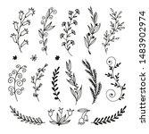 floral doodle set in sketch... | Shutterstock .eps vector #1483902974