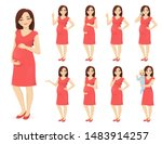 cute woman pregnant in dress... | Shutterstock .eps vector #1483914257