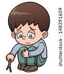 vector illustration of sad boy | Shutterstock .eps vector #148391609