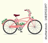 beautiful female pink bike with ... | Shutterstock .eps vector #1483933397