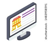 icon of hotel booking isometric ... | Shutterstock .eps vector #1483958591