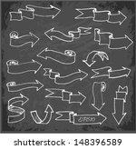 set of arrows on blackboard.... | Shutterstock .eps vector #148396589