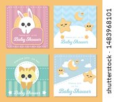 cute banner for baby shower | Shutterstock .eps vector #1483968101
