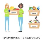 young volunteers holding boxes... | Shutterstock .eps vector #1483989197