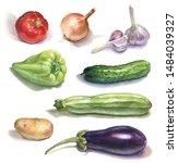 set of watercolor vegetables on ... | Shutterstock . vector #1484039327