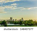 Denver City Park At Sunset And...