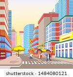 school children crossing road... | Shutterstock .eps vector #1484080121