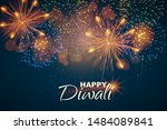 Stock vector website header or banner design on the background of lights and fireworks for diwali festival 1484089841