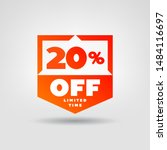 20  price tag. discount 20  off ... | Shutterstock .eps vector #1484116697