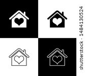 set house with heart shape icon ... | Shutterstock .eps vector #1484130524