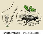 the plant in the hands grows ... | Shutterstock .eps vector #1484180381