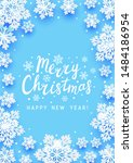 christmas greeting card with... | Shutterstock .eps vector #1484186954