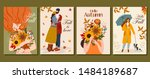 collection of autumn cards.... | Shutterstock .eps vector #1484189687