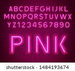 neon glowing pink 3d letters... | Shutterstock .eps vector #1484193674