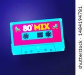 vector neon cassette with retro ... | Shutterstock .eps vector #1484194781