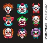 Creepy Clown Faces Set. Scary...