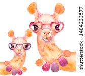 llama isolate watercolor...   Shutterstock . vector #1484233577