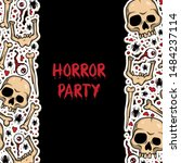 vector creepy pattern with... | Shutterstock .eps vector #1484237114