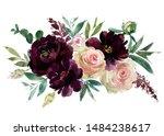 blush wine colors watercolor... | Shutterstock . vector #1484238617