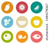 vector fresh fruits icons set | Shutterstock .eps vector #1484278367