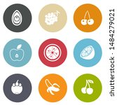 vector fresh fruits icons set