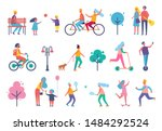 skating person on scooter... | Shutterstock . vector #1484292524