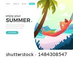 landing page in flat tropical...
