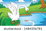 Fairy tale ugly duckling,vector illustration. Aspect ratio 16:9