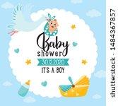 Baby Shower Card. Stork...