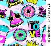 fashion patch badges in sketch... | Shutterstock .eps vector #1484369531
