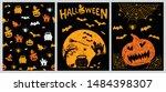 halloween set hand drawn... | Shutterstock .eps vector #1484398307