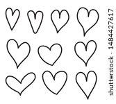 hand drawn heart vector icon ... | Shutterstock .eps vector #1484427617