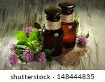 medicine bottles with clover... | Shutterstock . vector #148444835