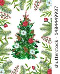 watercolor christmas tree with... | Shutterstock . vector #1484449937