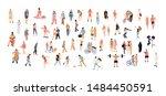 crowd people set. flat... | Shutterstock .eps vector #1484450591