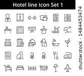 hotel line vector icon set  | Shutterstock .eps vector #1484453474