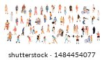 crowd people set. flat... | Shutterstock .eps vector #1484454077