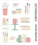 set of pottery tools.... | Shutterstock .eps vector #1484506124