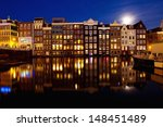 Night View Of Amsterdam  Holland
