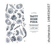 pizza design template. italian... | Shutterstock .eps vector #1484534357