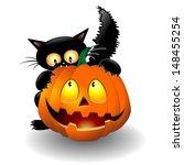halloween cat cartoon biting a... | Shutterstock .eps vector #148455254