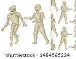 egyptian mummy and seamless... | Shutterstock .eps vector #1484565224