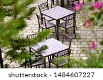 Stock photo the picture of table and chair in various type of cafeteria 1484607227