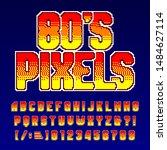 80s pixel alphabet font.... | Shutterstock .eps vector #1484627114