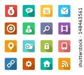 set of trendy flat icons
