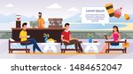 Stock vector people characters rest at outdoors cafe cartoon friendly smiling bartender at bar counter man 1484652047