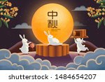 happy mid autumn festival with... | Shutterstock .eps vector #1484654207