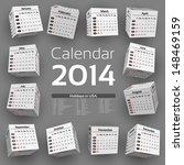 3d cube calendar 2014 | Shutterstock .eps vector #148469159