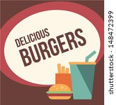 retro burger background | Shutterstock .eps vector #148472399